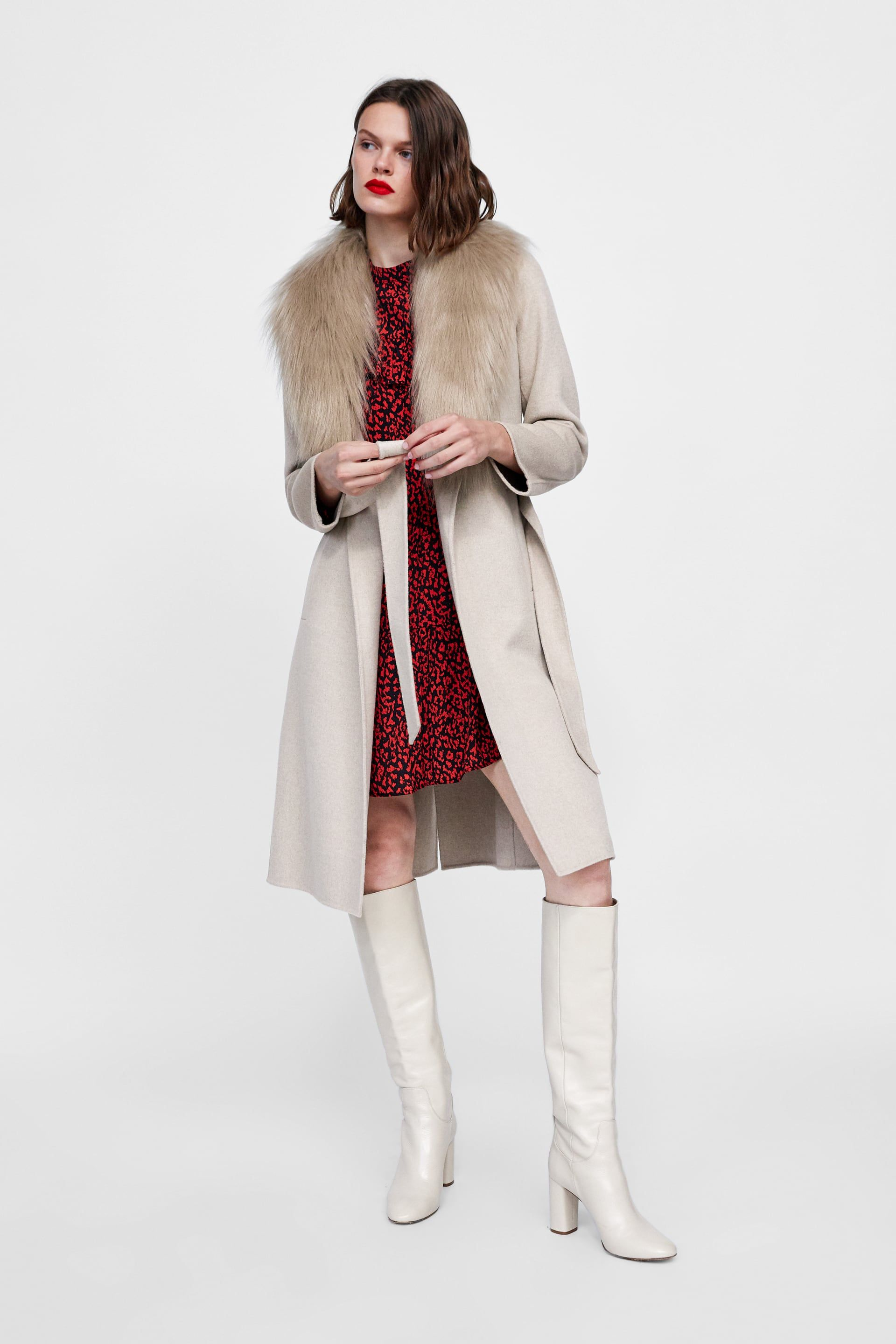 72fcc235 Image 1 of COAT WITH FAUX FUR COLLAR from Zara | My Style in 2019 ...