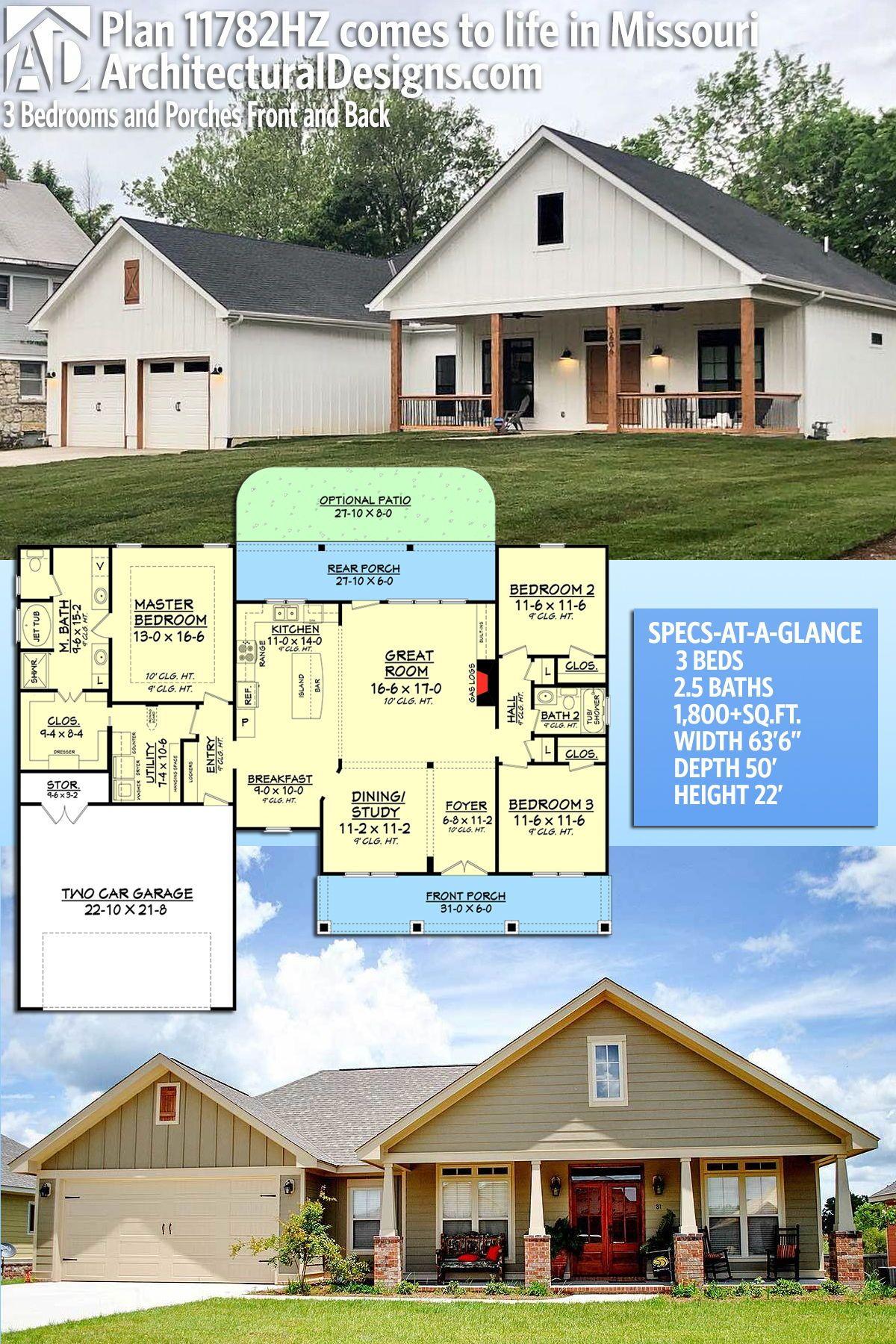 Plan 11782hz 3 Bedrooms And Porches Front And Back House Plans Farmhouse Architectural Design House Plans Farmhouse House