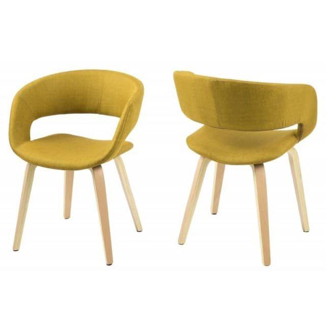 Chaise salle à manger GRACE en tissu pieds en chêneChaise design - salle a manger design moderne