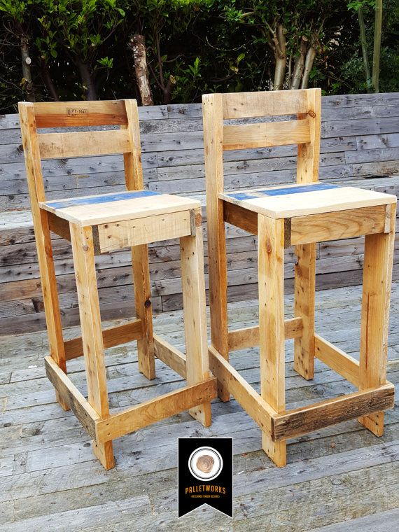 pallet bar stool seat chair reclaimed recyled by palletworksuk holzm bel pinterest. Black Bedroom Furniture Sets. Home Design Ideas