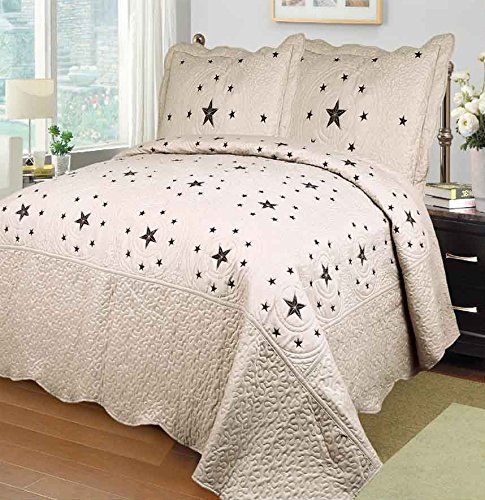 Fancy Linen 3pc Brown Texas Star Bedspread Quilt Set Embroidery All Sizes New
