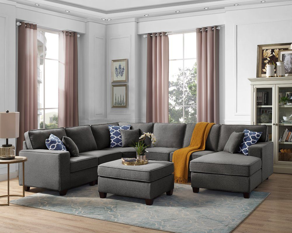 Laureen 112 2 Right Hand Facing Modular Sectional With Ottoman Modular Sectional Sofa Modular Sectional Living Room Furniture Sale