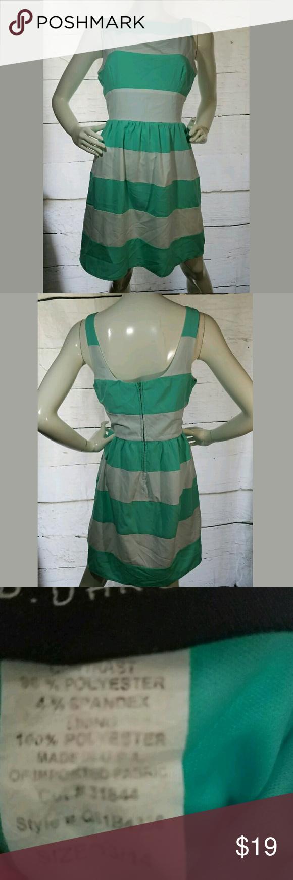 Bdarlin striped fit flare striped aqua dress bdarlin dress striped