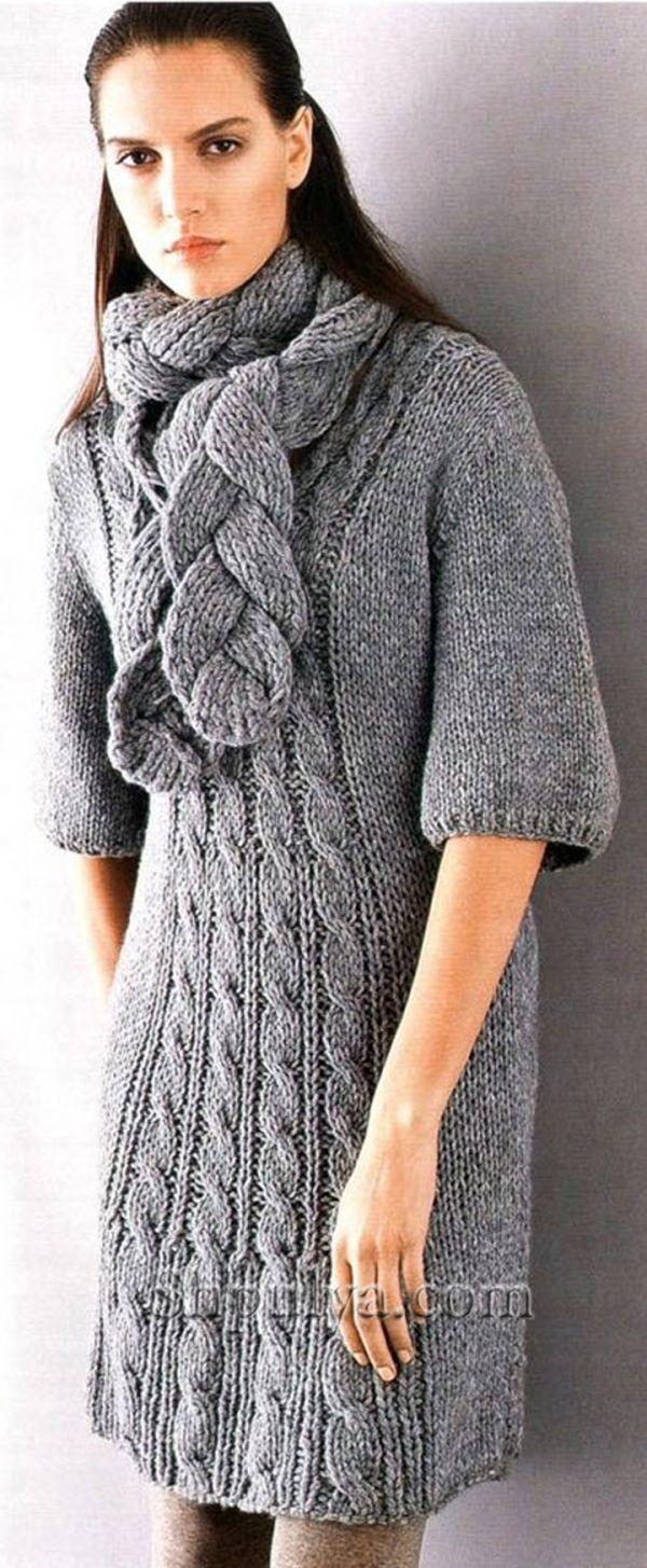 платья спицами описания схемы, вязаное платье, платье ...