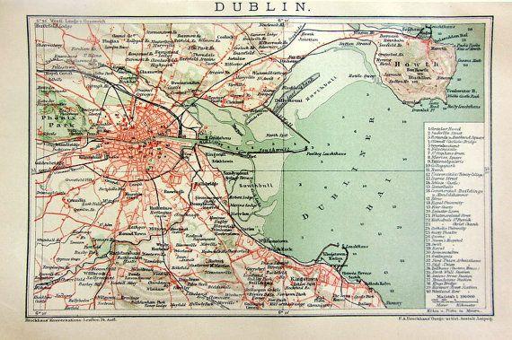 1904 Vintage Map Print Of Dublin City 110 By Lyranebulaprints