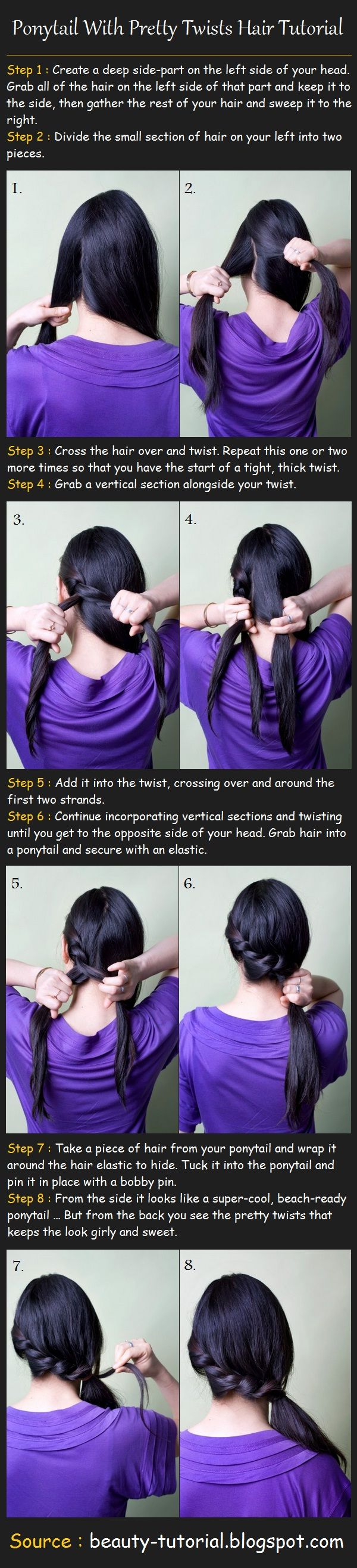 I do this to go to college when my hair is a little (well...VERY) messy.  Ponytail with twists hair tutorial