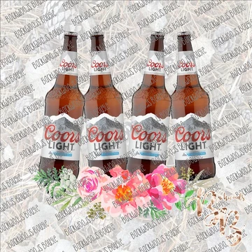 Beer Bottle Floral Coors Light Sublimation Transfer Ready To Press Coors Light Instant Download Prints Coors