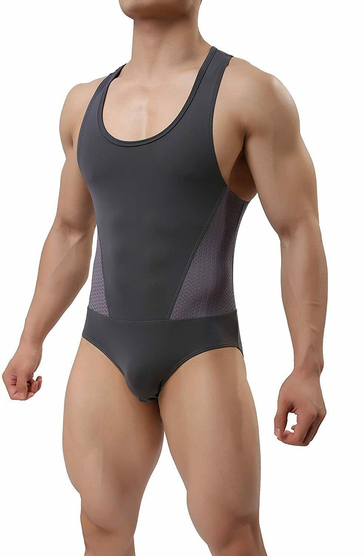 TESOON Mens Sport Bodysuit Mesh Jumpsuits Leotard Wrestling Singlet