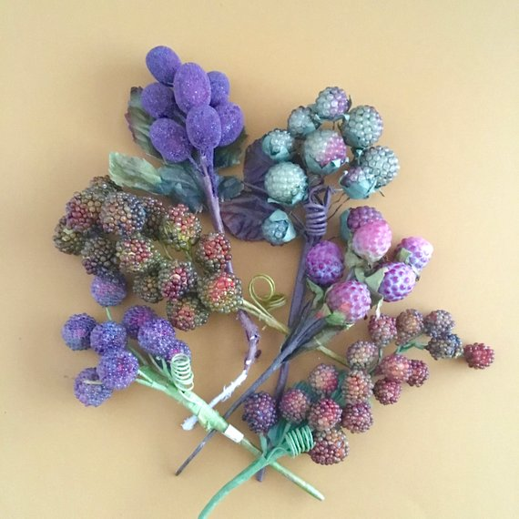 Sugared Beaded Fruit Sprays Wired Raspberries Grapes Vintage Etsy Bouquet Picks Vintage Floral Purple Grapes