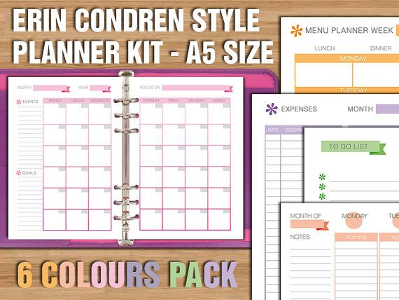 erin condren style printable planner kit a5 size by filodelight