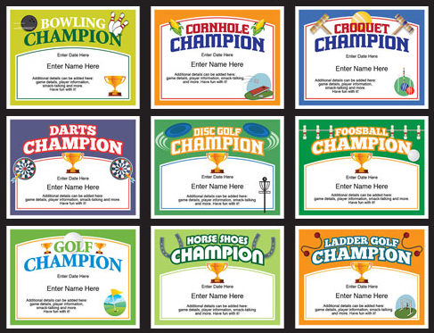 Champion certificates for ping pong darts pool cornhole bocce champion certificates for ping pong darts pool cornhole bocce and more award certificatescertificate templatesladder golfcornholedartschampion yadclub Choice Image