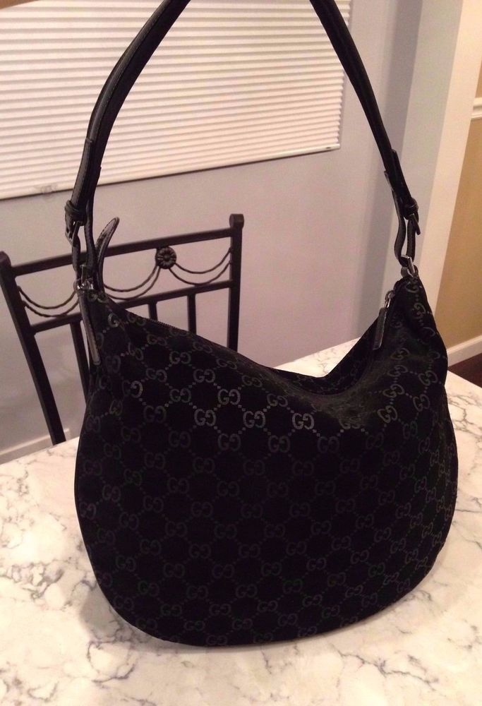 GUCCI Black Suede Leather GUCCISSIMA GG Hobo Tote Shoulder Hand Bag Purse  ITALY  Gucci  ShoulderBag GORGEOUS!!! SALE!!! b115a1fe9d1f8