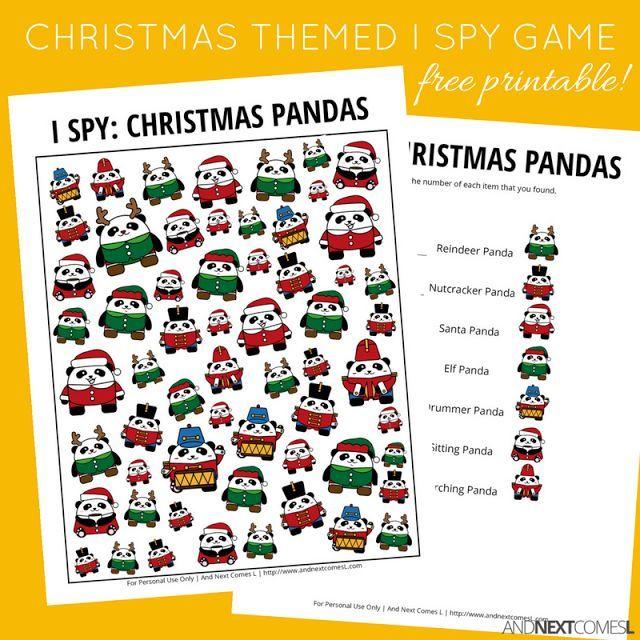 Christmas Pandas I Spy Game {Free Printable for Kids}   Aula
