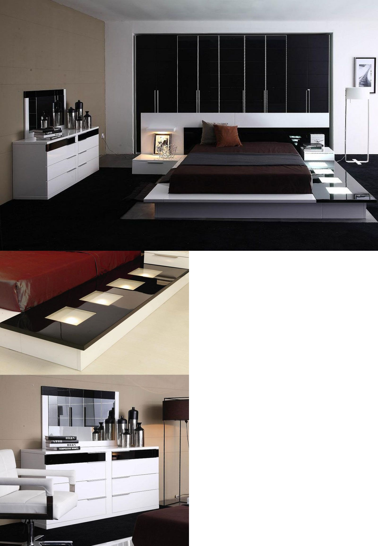Bedroom Sets 20480: Modern 5 Pieces Black And White Bedroom ...
