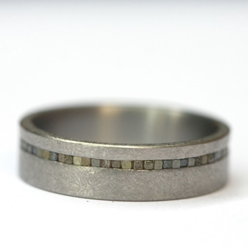 Titanium Men's Ring With Raw Cubes By Todd Reed