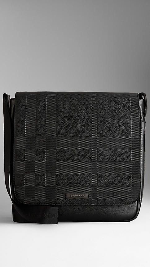 Small Embossed Check Leather Messenger Bag | Burberry