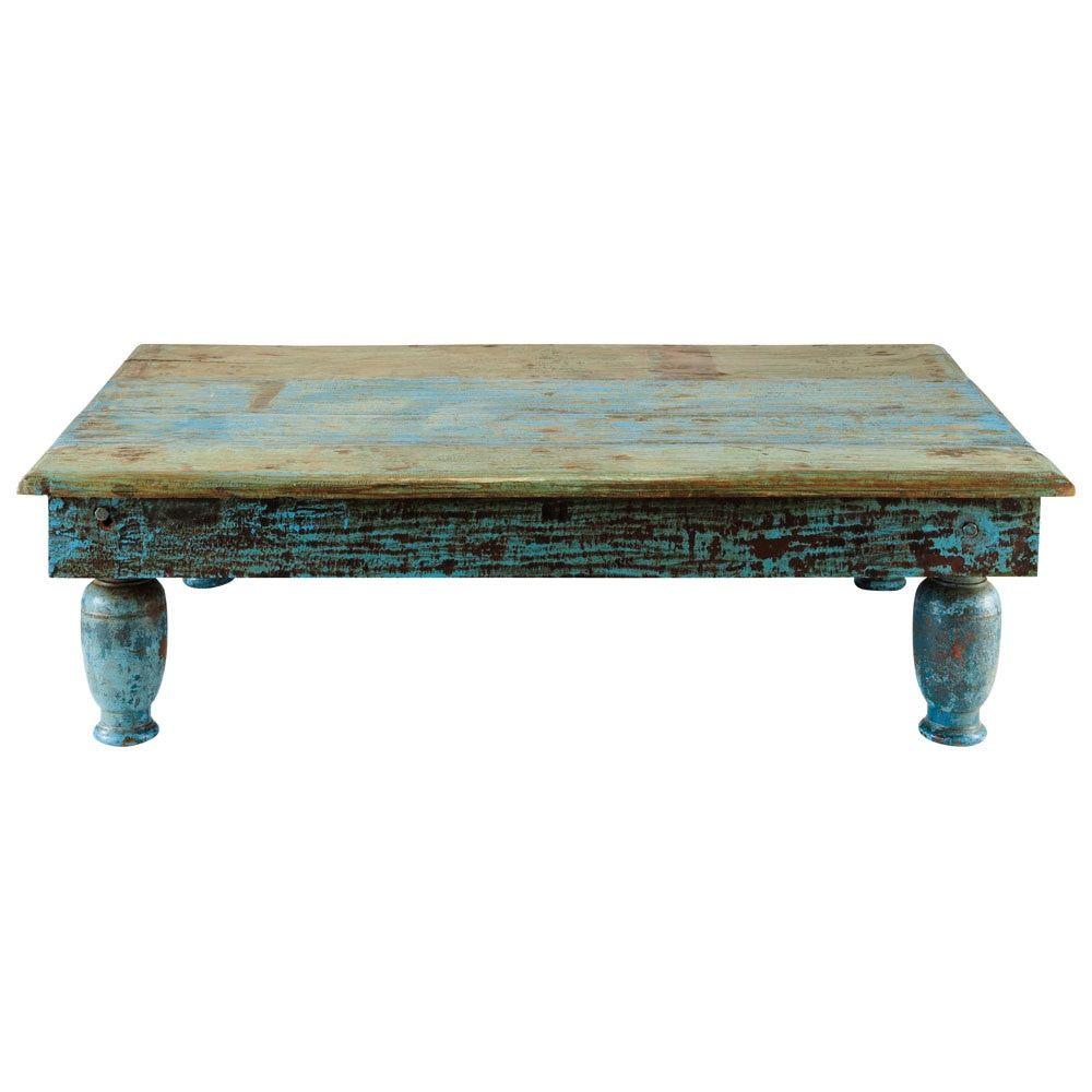 Couchtisch aus Recyclingholz, B 122 cm, blau antik Trinidad   Haus ...