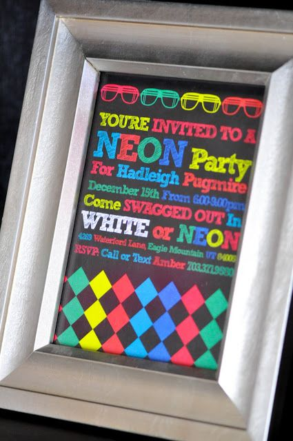 Neon party invite- Emma's next b day party idea:-)