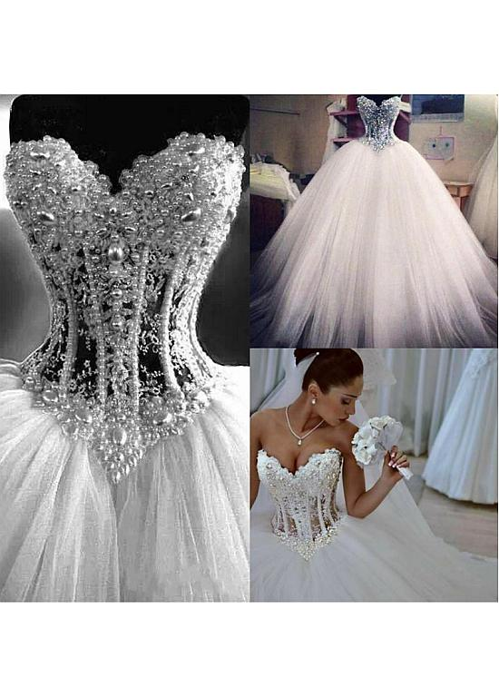 [250.50] Lavish Tulle Sweetheart Neckline Basque Waistline Ball Gown Wedding Dress With Lace Appliques & Beadings #tulleballgown