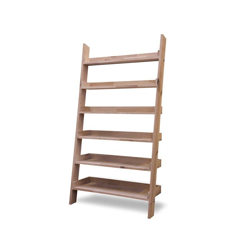 Large Raw Oak Shelf Ladder