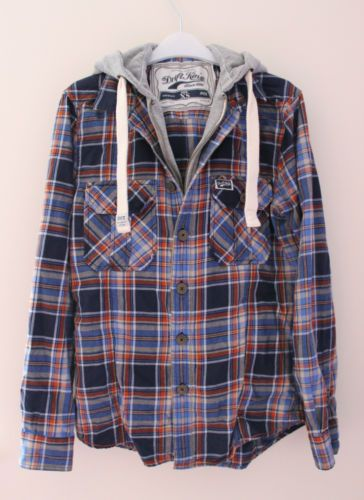 26e07754015e3 Drift King XS Red Blue Check Plaid Flannel Shirt Hooded Jacket Hoodie  Superdry