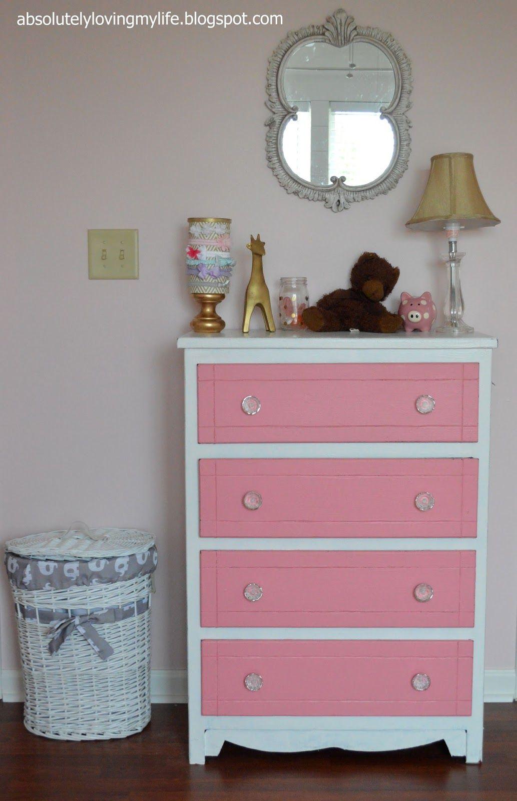 Refinished Pink And White Dresser Dresser Makeover White White