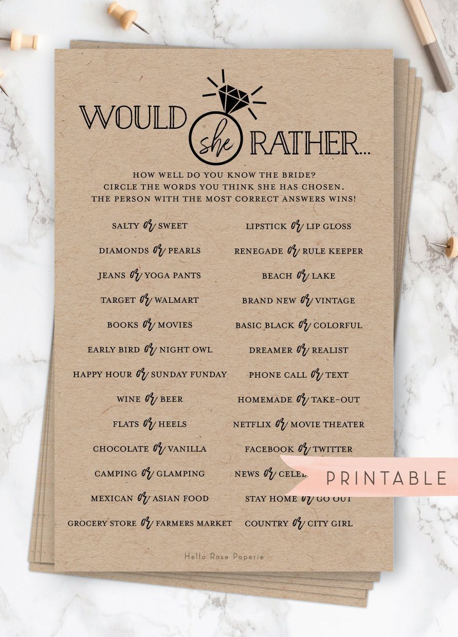 Would She Rather Virtual + Printable Bridal Shower Game . Who Knows the Bride Best . Rustic Kraft and Black White . Instant Digital Download