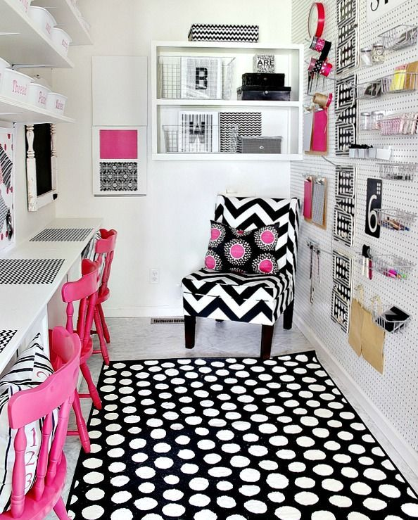 pink black craft room | Black graphic and hot pink