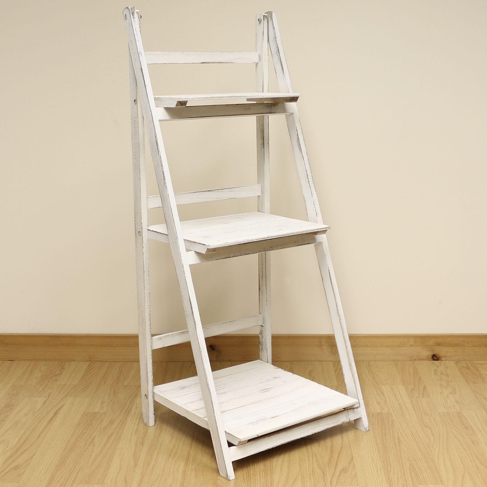 Simple White Wooden Ladder Shelf