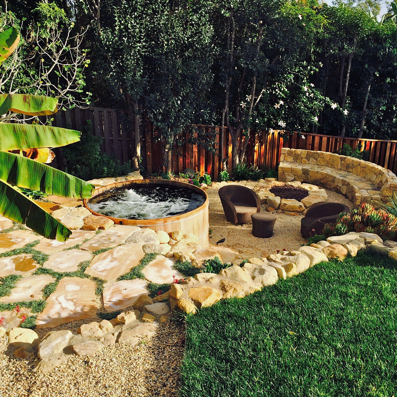 wooden tub set in santa barbara backyard retreat www