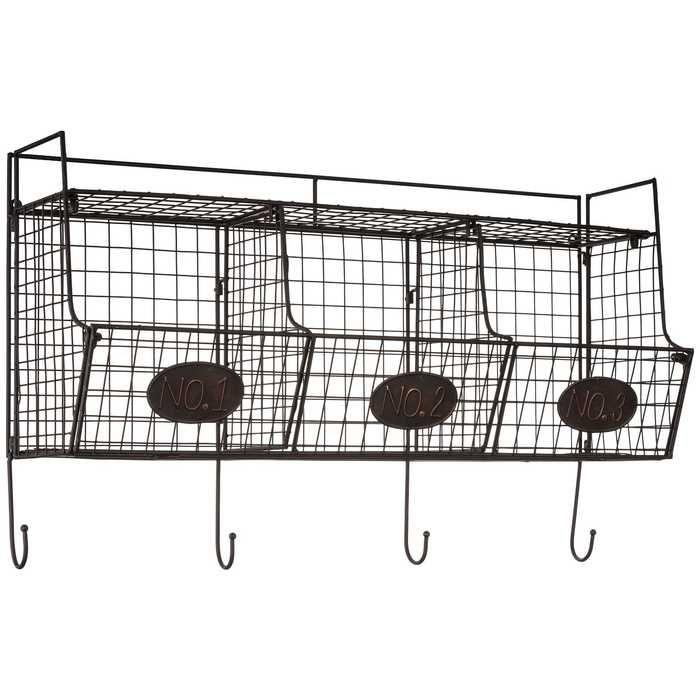 Black Wire Wall Shelf With Baskets Wall Shelf With Baskets