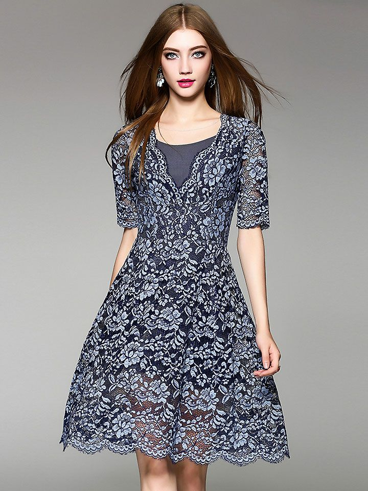 e7ad43b2df20 Sexy V-Neck Short Sleeve Jacquard A-Line Dress; Size: S,M,L,XL; Color:  Blue; Material: Polyester; Material: Lace; Style: Vintage; Silhouette:  A-Line Dresses ...