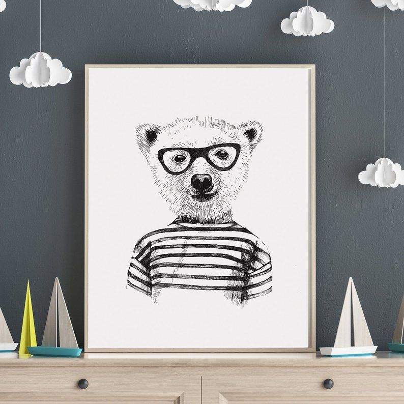 Black And White Prints For Nursery Bear Wall Art Print Boys Room Wall Art Bear Wall Art Animal Wall Art Animal Wall Art Kids