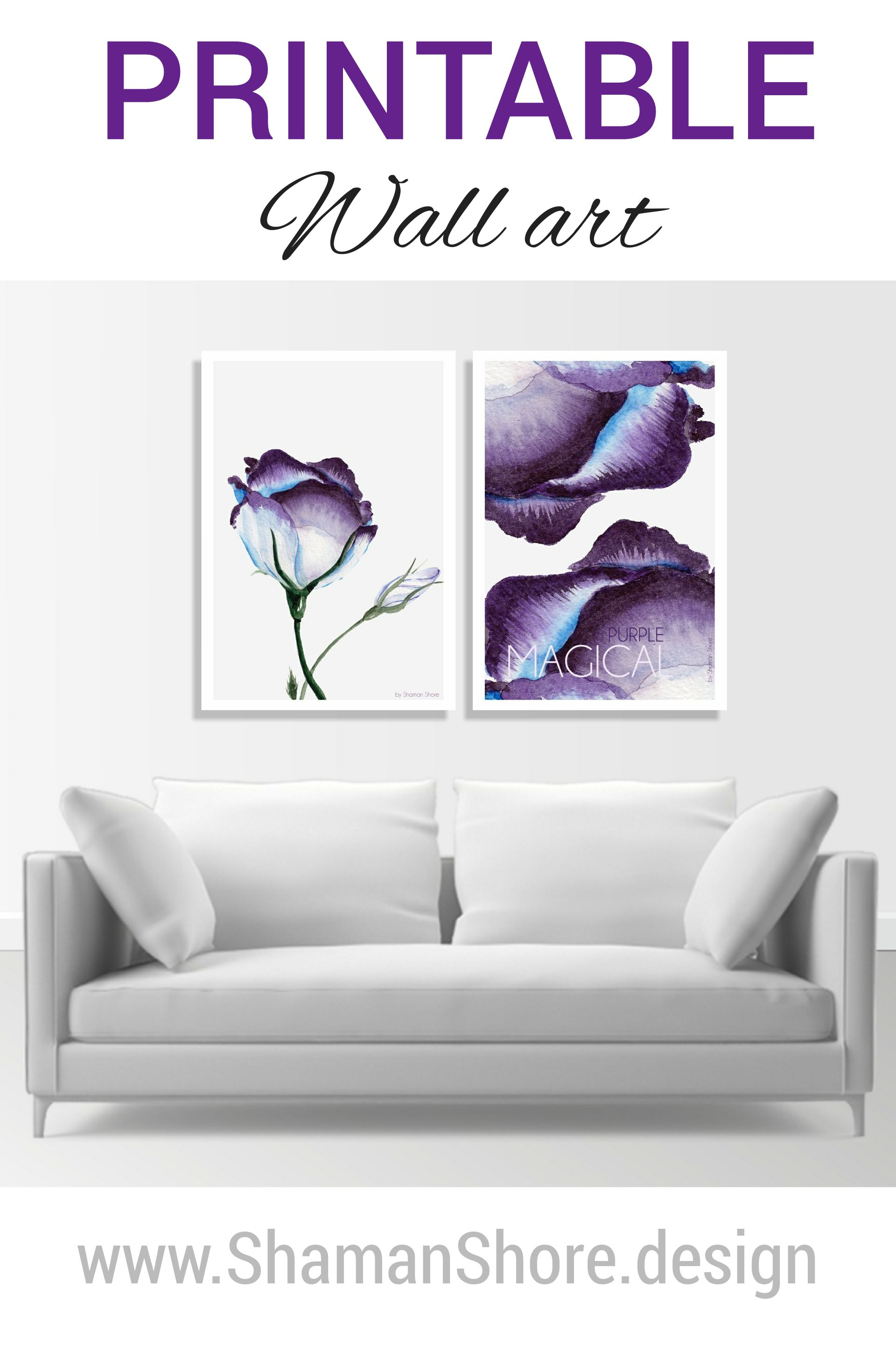 Purple and white wall decor