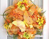Spring Mesh Wreath Orange Yellow Lime Plaid Spring Decor