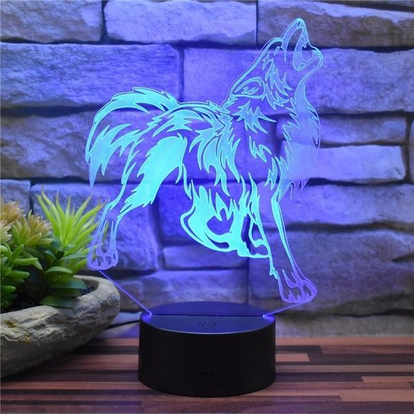 New 3D Roaring Wolf Acrylic LED Night Light Touch Remote Control Colorful Decor Table Lamp Children Bedroom Learning Creative Gift  Wishacrylic