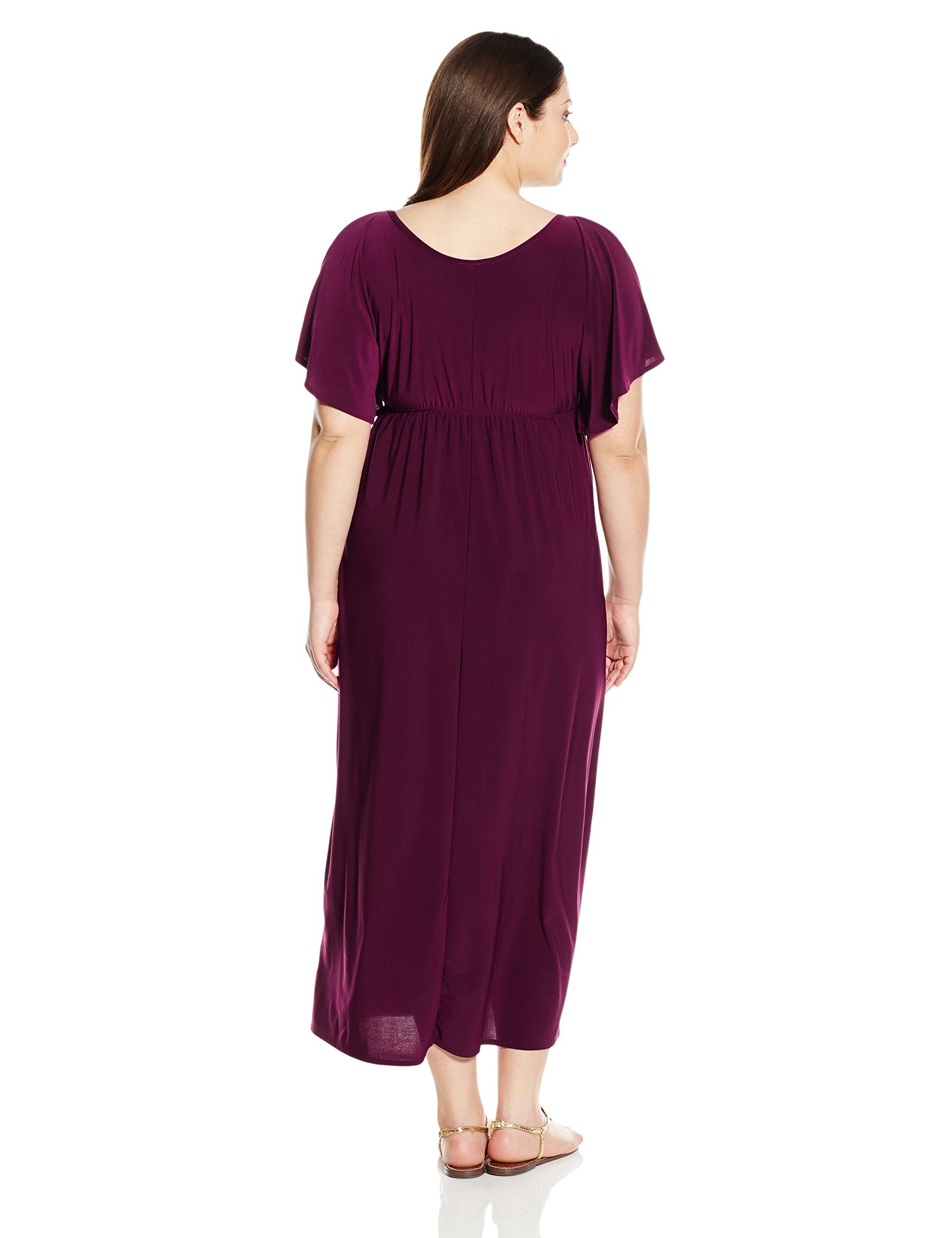 7cbf7c3af0c Star Vixen Womens PlusSize Slit Flutter Sleeve Maxi Dress with Empire  Drawstring Waist Purple 3X    Check this awesome product by going to the  link at the ...