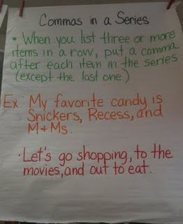 Commas in a series | Anchor Charts | Commas in a series