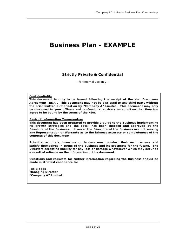 We are often asked for an example of a professional business plan