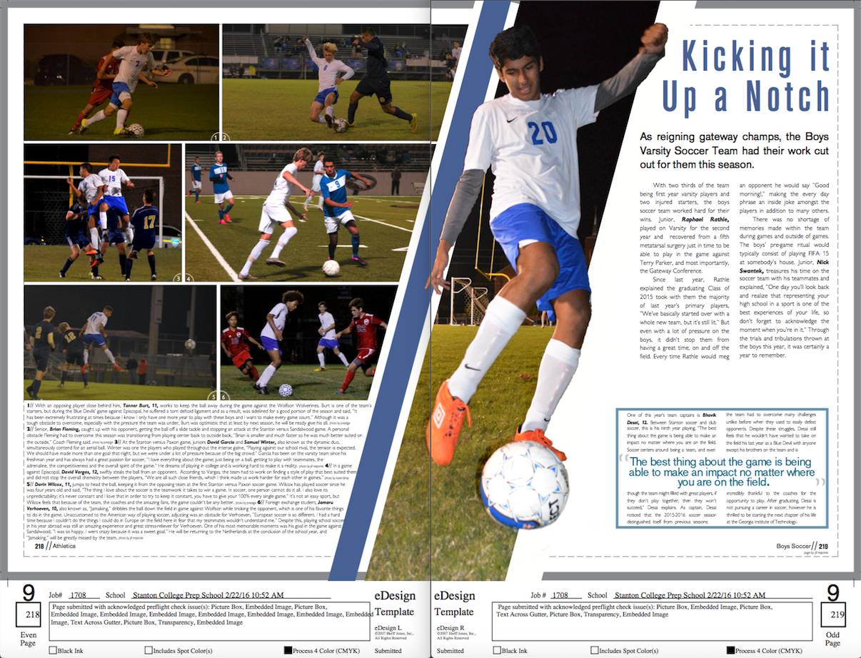 varsity soccer page yearbook layout design yearbooktheme