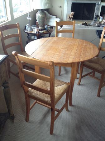 "Dining Room Furniture San Diego 42"" Round Pine Dining Table With 4 Rush Seat Chairs  $300 San"