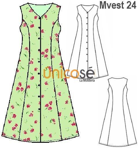 Corte costura vestido evase