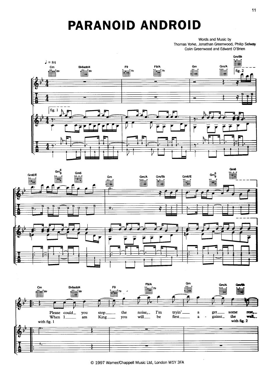 Paranoid Android Sheet Music Pinterest Musik And Gitarre