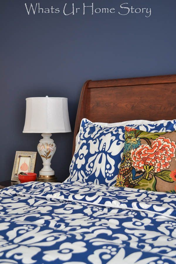 Navy and coral bedroom with Crane and Canopy -Whats Ur Home Story