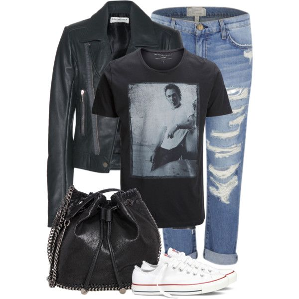 classic, simple, rock by jana-zed on Polyvore featuring mode, Balenciaga, Current/Elliott, Converse, STELLA McCARTNEY and SELECTED