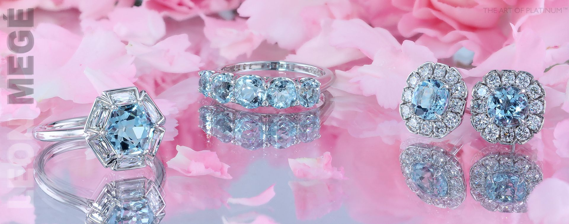Aquamarine collection by Leon Mege. Two platinum rings and Art Deco ...