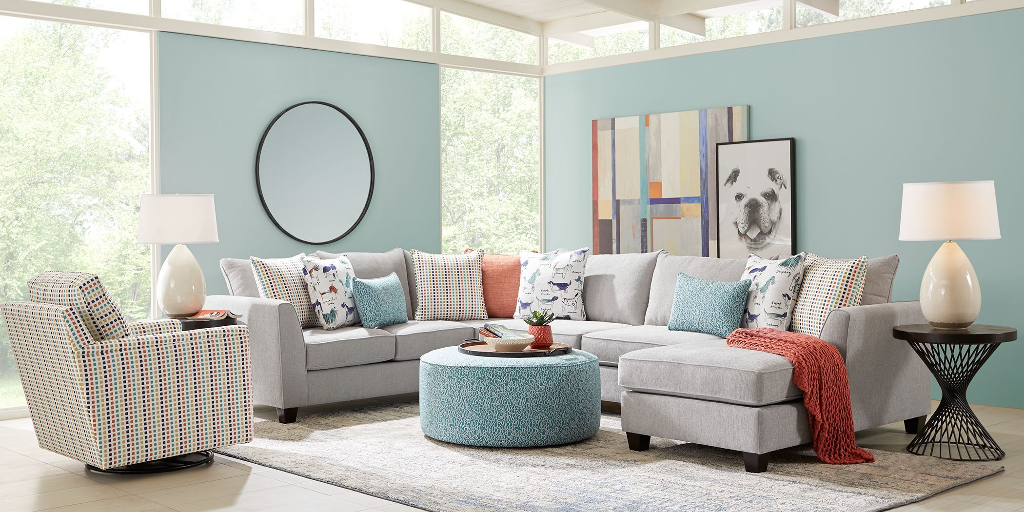 Rover Ridge Gray 6 Pc Sectional Living Room In 2020 Living Room Sets Furniture Living Room Sectional Grey Furniture Living Room #upholstered #living #room #sets