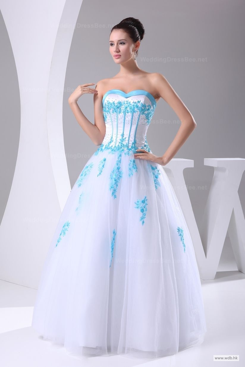 Bridal gowns colored sweetheart full aline floorlength tulle
