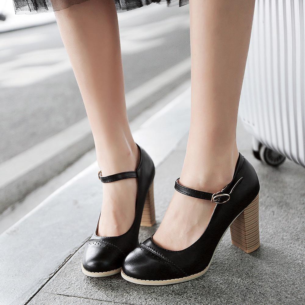 Ankle Straps Women Pumps Platform High Heels Dress