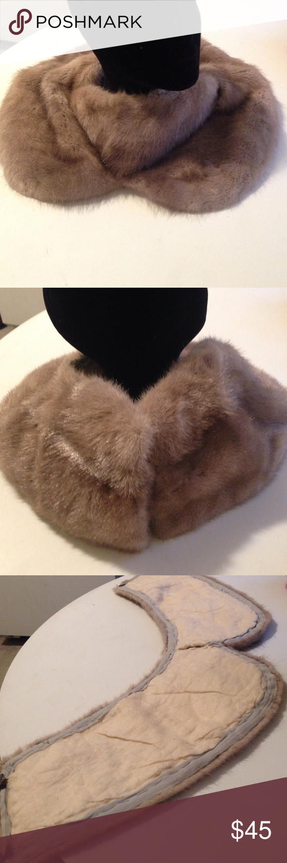 Authentic mink collar Can be worn on a sweater or coat. Looks stunning with turtle neck sweaters. Eye & clamp closure. Nice & soft. Taupe grayish color Accessories Scarves & Wraps